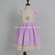 purple cotton poplin hand embroidery baby girl dresses